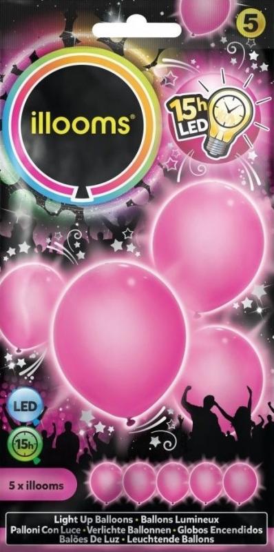 ILLOOMS 5er LED Ballon Pink