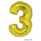 Folienballon 100cm Zahl 3 Farbe Gold