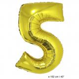 Folienballon 100cm Zahl 5 Farbe Gold