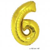 Folienballon 100cm Zahl 6 Farbe Gold